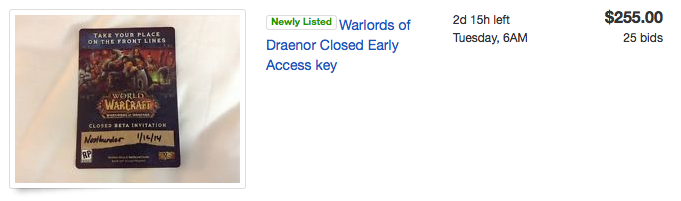 Warlords closed beta code on Ebay